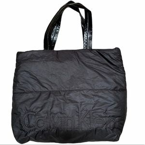 CALVIN KLEIN Black Soft Puffy Quilted Logo Tote